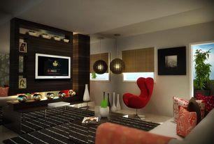 Contemporary Living Room with Pendant light, Casement, Standard height, Concrete tile
