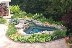 Rustic Hot Tub with exterior concrete tile floors, exterior tile floors, Fence, Trellis
