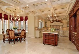 Traditional Kitchen with Raised panel, Kitchen island, U-shaped, Breakfast nook, Large Ceramic Tile, Chandelier, can lights