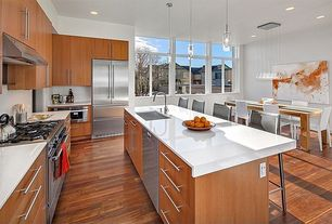 Contemporary Kitchen with Pental thassos quartz, Siro Designs Pull, Fine Brushed Stainless Steel, Quartz counters, Flush