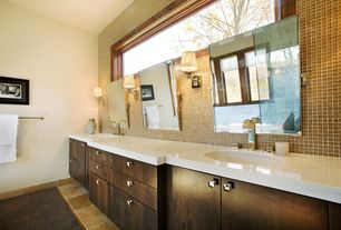 Contemporary Master Bathroom with stone tile floors, Standard height, picture window, Undermount sink, Wall sconce, Flush