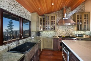Country Kitchen with Sharp Microwave Drawer, L-shaped, Farmhouse sink, Kitchen island, Glass panel, Inset cabinets