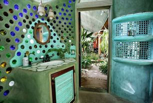 Eclectic Full Bathroom with Commercial Electric - 2-Light Oil Rubbed Bronze Vanity, limestone floors, Inset cabinets