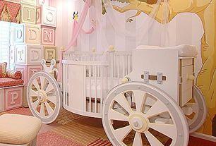Traditional Kids Bedroom with interior wallpaper, Carpet, Standard height, Bay window, Girl nursery, no bedroom feature