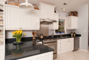 Traditional Kitchen with Lg hausys hi-macs-solid surface countertop in black pearl
