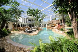 Tropical Swimming Pool with Indoor pool, Gazebo, Bay window, Raised beds, exterior stone floors, Skylight, Arched window