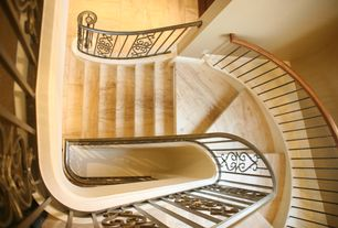 Mediterranean Staircase with sandstone floors, High ceiling