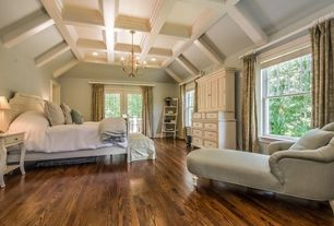Traditional Master Bedroom with High ceiling, Hardwood floors, Box ceiling, Chandelier, can lights, double-hung window