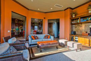 Modern Living Room with Paint 2, Wayfair Custom Upholstery Brooke Sofa Hilo Flax, Safavieh Fulton Leather Ottoman, Carpet