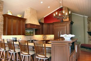 Country Kitchen with Breakfast bar, Limestone Tile, Simple granite counters, Stone Tile, slate tile floors, U-shaped