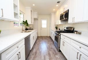 Contemporary Kitchen with Hardwood floors, partial backsplash, gas range, Standard height, Stainless undermount 2-basin sink