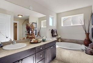 Contemporary Master Bathroom with European Cabinets, Tile san diego evolution cappelletto travertine, Double sink, Stone Tile