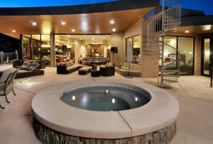 Contemporary Hot Tub with exterior tile floors, Gate