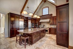 Traditional Kitchen with Flush, Skylight, Ms International Fire Bordeaux Granite, wall oven, Exposed beam, Pendant light