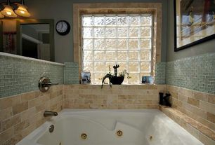 Contemporary Master Bathroom with Wall sconce, drop in bathtub, Bathtub, Master bathroom, Glass tiles, Stained glass window