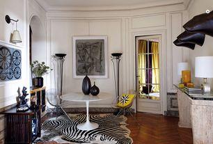 Contemporary Living Room with Built-in bookshelf, Crown molding, Wainscotting, Hardwood floors