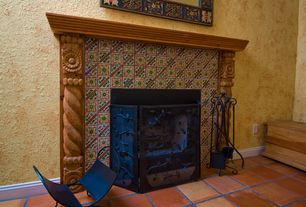 Mediterranean Living Room with terracotta tile floors, Paint 1