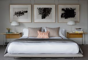 Modern Master Bedroom with Original artworks, Anitascasa Orange Trellis Pillow Case 18x18, Ikea - brasa table lamp, Carpet
