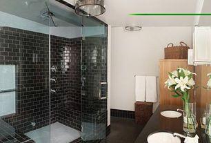 Contemporary Master Bathroom with frameless showerdoor, Master bathroom, flush light, Double sink, Slate counters, Shower