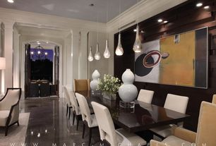 Contemporary Dining Room with French doors, Standard height, Steve Silver Furniture Delano Side Chair, Pendant light, Paint 2