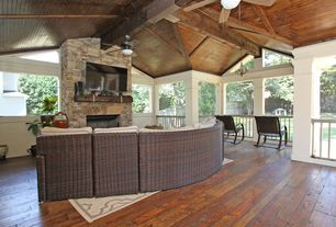 """Craftsman Porch with 52"""" bellasario oil-brushed bronze ceiling fan, Fence, Deck Railing, Gazebo, Screened porch"""
