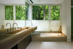 Contemporary Master Bathroom with can lights, Standard height, Bathtub, picture window, Dex, stone tile floors, Ann sacks