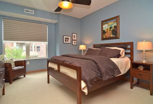 Contemporary Master Bedroom with flush light, Standard height, Ceiling fan, Carpet, Casement