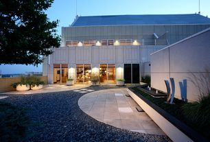 Contemporary Patio with sliding glass door, Pond, exterior concrete tile floors, Pathway, picture window, Fence, Deck Railing