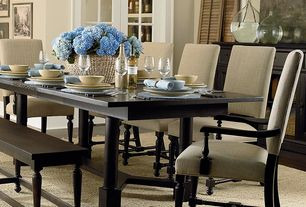 Transitional Dining Room with Hardwood floors, High ceiling, Bassett Furniture Custom Dining Turned Post Dining Table