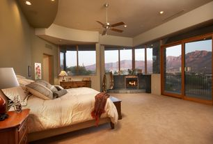 Contemporary Master Bedroom with Cement fireplace, Carpet, Built-in bookshelf, Ceiling fan