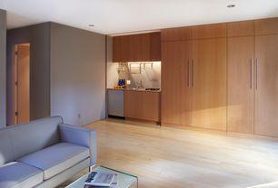 Contemporary Bar with flat door, Standard height, can lights, Hardwood floors, Built-in bookshelf