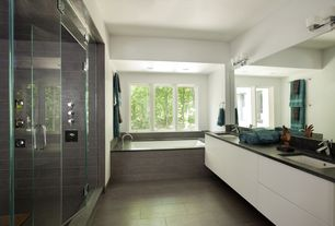 Contemporary Master Bathroom with Undermount sink, Marazzi Riflessi Di Legno Ebony Porcelain Floor and Wall Tile, Double sink