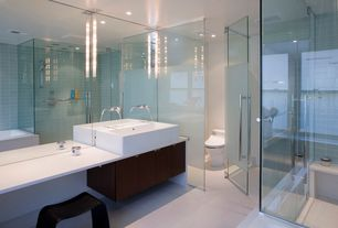 Contemporary Master Bathroom with European Cabinets, Flush, Master bathroom, Corian counters, Vessel sink, Toto toilet