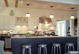 Contemporary Kitchen with Framed Partial Panel, L-shaped, partial backsplash, Avatex furniture miller bar stool-aluminum