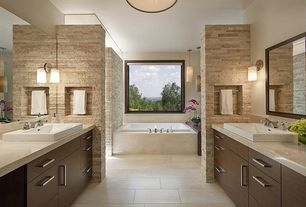 Contemporary Master Bathroom with Emser, Trav Chiseled Scabos. Travertine Floor and Wall Tile, Pendant light, Wall sconce