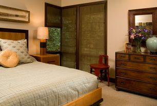 Contemporary Guest Bedroom with Carpet, Roman shades, Platform bed