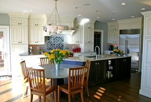 Traditional Kitchen with Holsag Henry Side Chair, Livex Lighting Avalon 6 Light Drum Chandelier, Chandelier, French doors