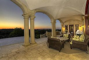 Traditional Porch with exterior stone floors, Deck Railing, picture window