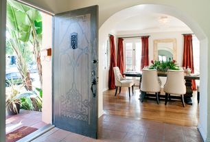 Eclectic Front Door with exterior terracotta tile floors, exterior tile floors
