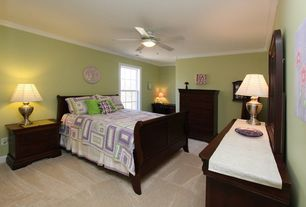 Traditional Master Bedroom with Ceiling fan, Standard height, Carpet, Crown molding, double-hung window