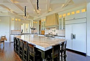 Traditional Kitchen with Box ceiling, Standard height, Soapstone counters, Kitchen island, Breakfast bar, Casement, Paint 1