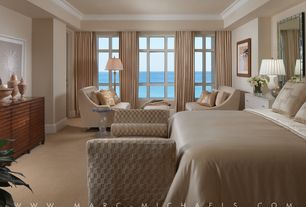 Traditional Master Bedroom with Upholstered bench with arms, Atlantic ocean view, Built-in bookshelf, Recessed ceiling