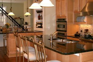 Traditional Kitchen with Ceramic Tile, Kitchen island, double wall oven, Multiple Sinks, Wall Hood, Raised panel, One-wall