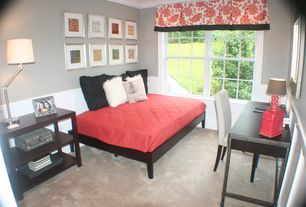 Contemporary Guest Bedroom with Art desk, Crown molding, Wainscotting, Carpet, Ceiling fan