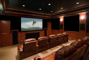 Traditional Home Theater with Crown molding, Carpet, Wall sconce