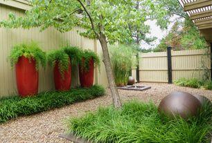 Modern Landscape/Yard with Glazed egg planter, Raised beds, Pathway, Fence
