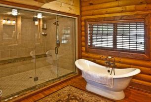 "Rustic Master Bathroom with Cambridge plumbing 68.63"" x 29"" pedestal slipper tub, frameless showerdoor, Freestanding, Bathtub"