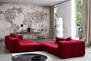 "Contemporary Living Room with Paint 1, Red velvet boca sofa, interior wallpaper, Wall Mural ""Grunge background"""