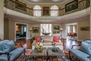 Traditional Living Room with Balcony, High ceiling, Bay window, Crown molding, Hardwood floors