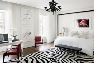 Modern Master Bedroom with Safari - contemporary zebra print rug, Cristalstrass murano & crystal - laguna 6 light chandelier